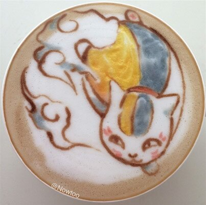 Japanese Latte Art Nyanko sensei