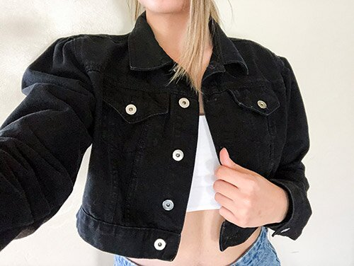 Femme Luxe Black Denim Jacket